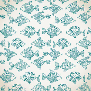 Fish Pattern In Abstract Style. Copy Square To The Side And You'll Get Seamlessly Tiling Pattern Which Gives The Resulting Image Ability To Be Repeated Or Tiled Without Visible Seams.