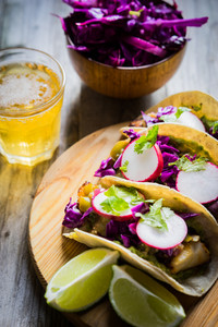 Fish Tacos On Wooden Background