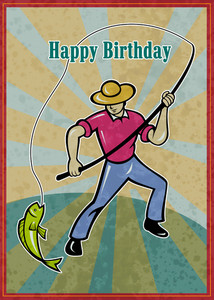 Fisherman Catching Fish Happy Birthday