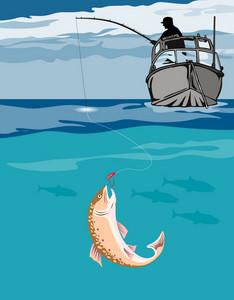 Fisherman Fishing Trout Fish Retro