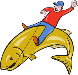 Fisherman Riding Jumping Trout Fish