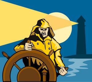 Fisherman Sea Captain Helm Retro