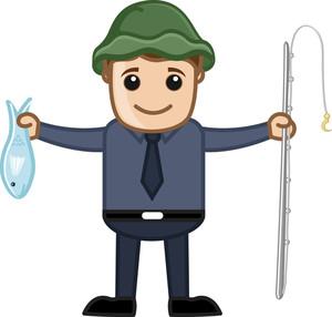 Fisherman - Vector Character Cartoon Illustration