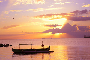 Fishing Boat Landscape Sunset