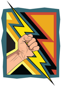 Fist With Lightning Bolt