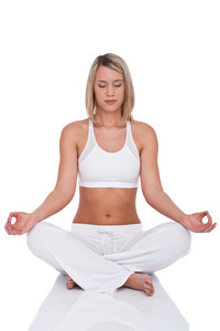 Fitness series - Blond woman in yoga position on white background