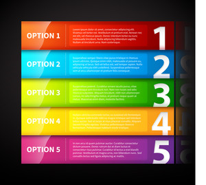Five Colorful Glossy Horizontal Banners