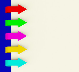 Five Multicolored Arrow Tabs Over Paper For Menu List Or Notes