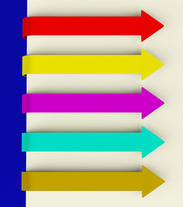Five Multicolored Long Arrow Tabs Over Paper For Menu List Or Notes