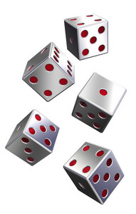 Five Silver Dices Isolated On White.