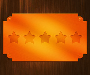 Five Stars On Gold Plate Background