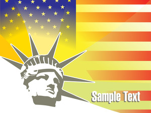 Flag Background And Liberty Face