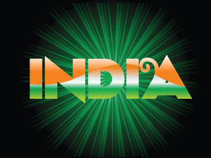 Flag Color In India With Green Rays Background