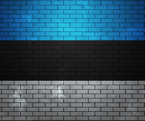 Flag Of Estonia On Brick Wall