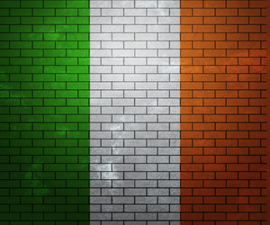 Flag Of Ireland On Brick Wall