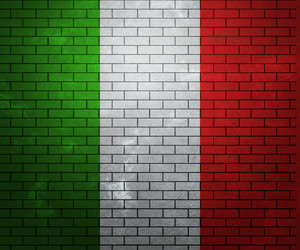 Flag Of Italy On Brick Wall