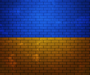 Flag Of Ukraine On Brick Wall