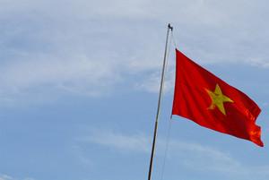 Flag of Vietnam on blue sky