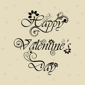 Flal Decated Happy Valentines Day Text On Elegant Background