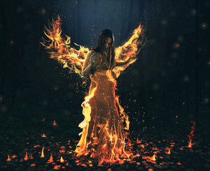 Flames engulf a woman and turn into angel wings