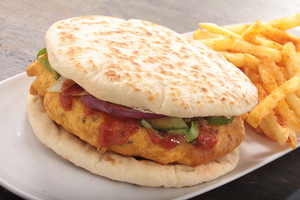 Flat Bread Chicken Pakora Burger