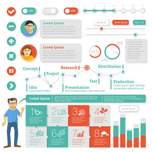 Piatto Interface Design Element Set. Vector Infografica modello.