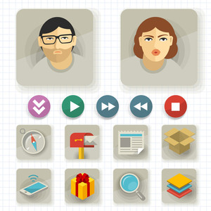 Flat User Interface Vector Icon Set.
