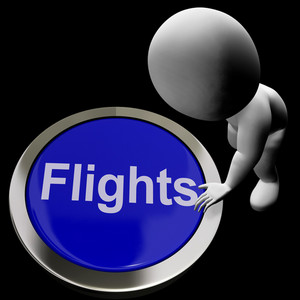 Flights Button For Overseas Vacation Or Holidays