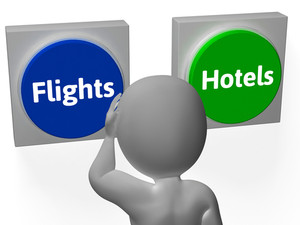 Flights Hotels Buttons Show Hotel Or Flight