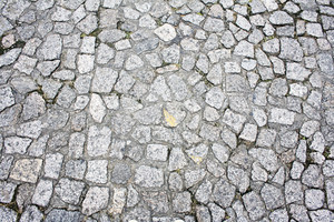 Floor of granite paving stone