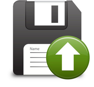 Floppy Disk With Green Up Arrow