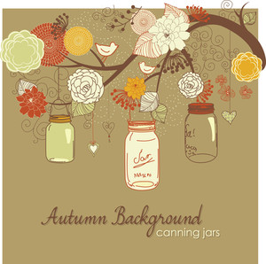 Floral Autumn Background. Glass Jars Hanging From The Brunch