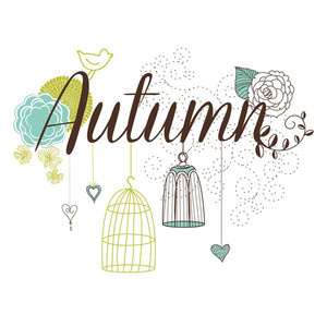 Floral Autumn Background. The Word Autumn Decorated With Birdcages And Flowers