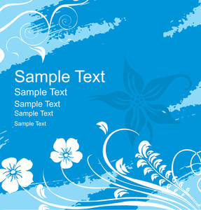 Floral Background For Sample Text In Blue