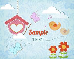 Floral Background Illustration With Doodle Flower, Bird, Cloud