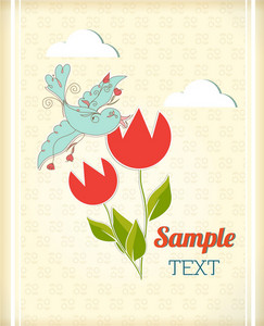 Floral Background Illustration With Doodle Flower