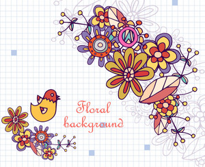 Floral Background Illustration With Doodle Flower,bird,texture