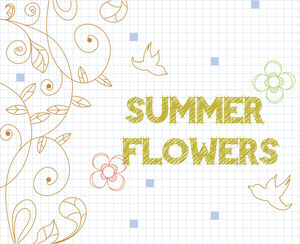 Floral Background Illustration With Doodle Flower,page,grid