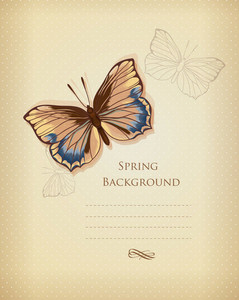Floral Background Vector Illustration With Butterflies