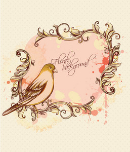 Floral Background Vector Illustration With Floral Frame And Bird