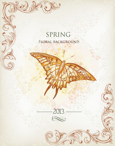 Floral Background Vector Illustration With Floral Frame And  Butterflie
