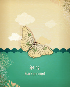 Floral Background Vector Illustration With Spring Flowers And Butterflies