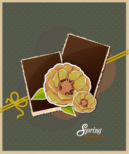 Floral Background Vector Illustration With Spring Flowers With Photo Frame