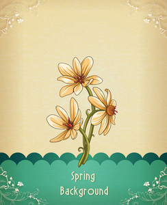 Floral Background Vector Illustration With Spring Flowers
