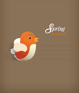 Floral Background Vector Illustration With Sticker Bird