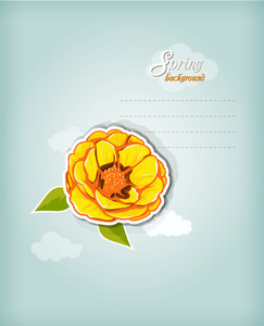 Floral Background Vector Illustration With Sticker Flower