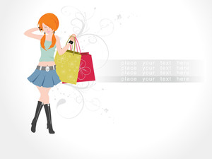 Floral Background With Set Of Shopping Bag