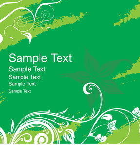 Floral Banner Vector For Sample Text In Green