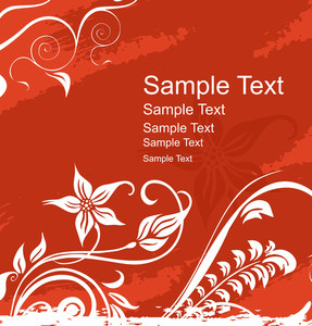 Floral Banner Vector For Sample Text In Red