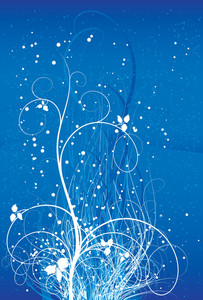 Floral Blue Abstract. Vector.